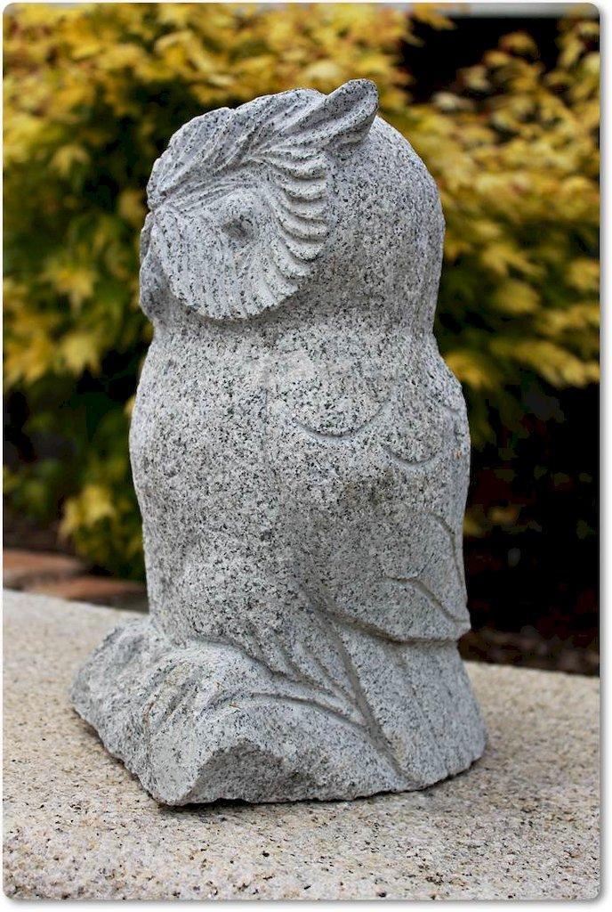 Eule raubvogel vogel steinfigur stein skulptur for Gartengestaltung vogel