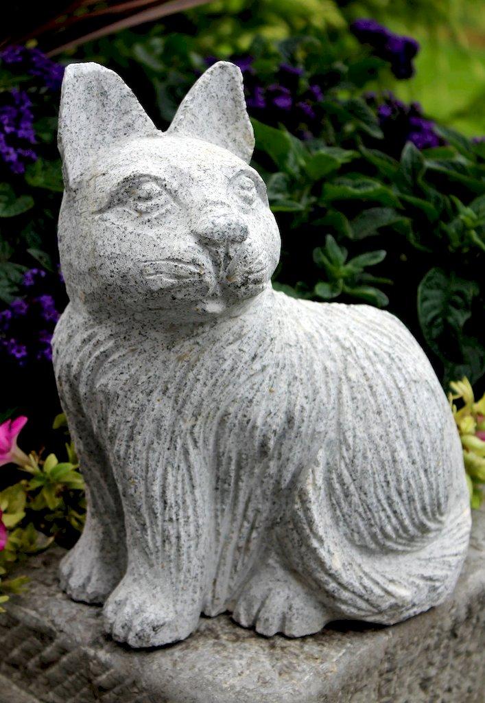 Katze steinkatze tierfigur gartendeko terrasse balkon granit steinfigur skulptur ebay - Gartendeko aus stein ...