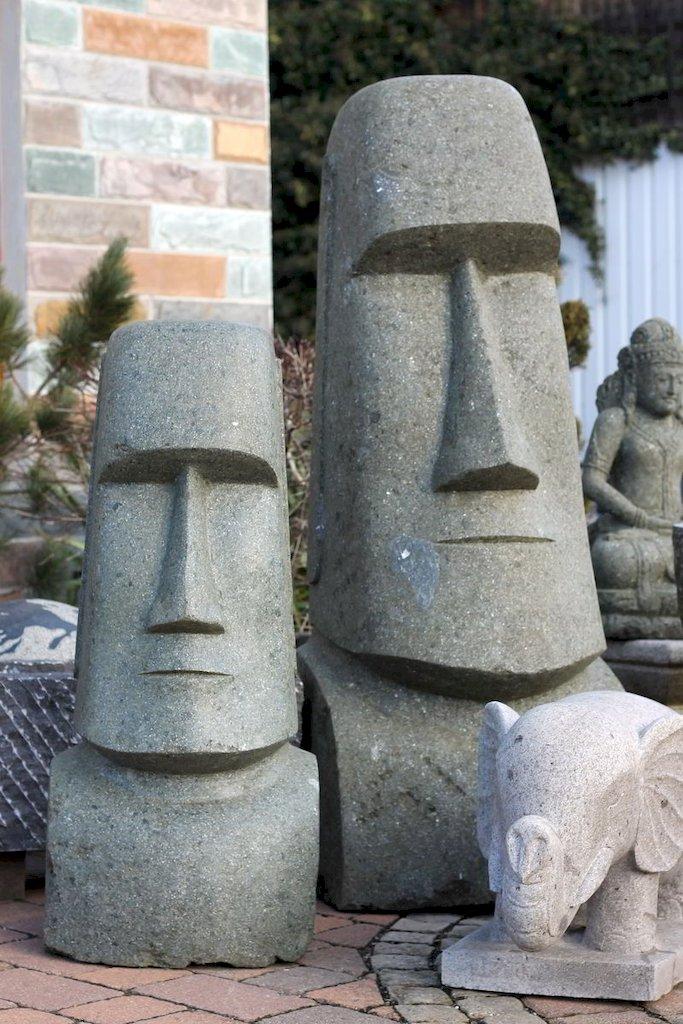 osterinsel moai steinfigur k pfe naturstein basanit. Black Bedroom Furniture Sets. Home Design Ideas