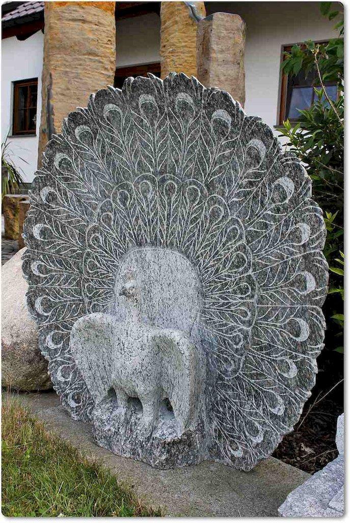Pfau vogel steinfigur steinskulptur granit for Steinskulptur garten
