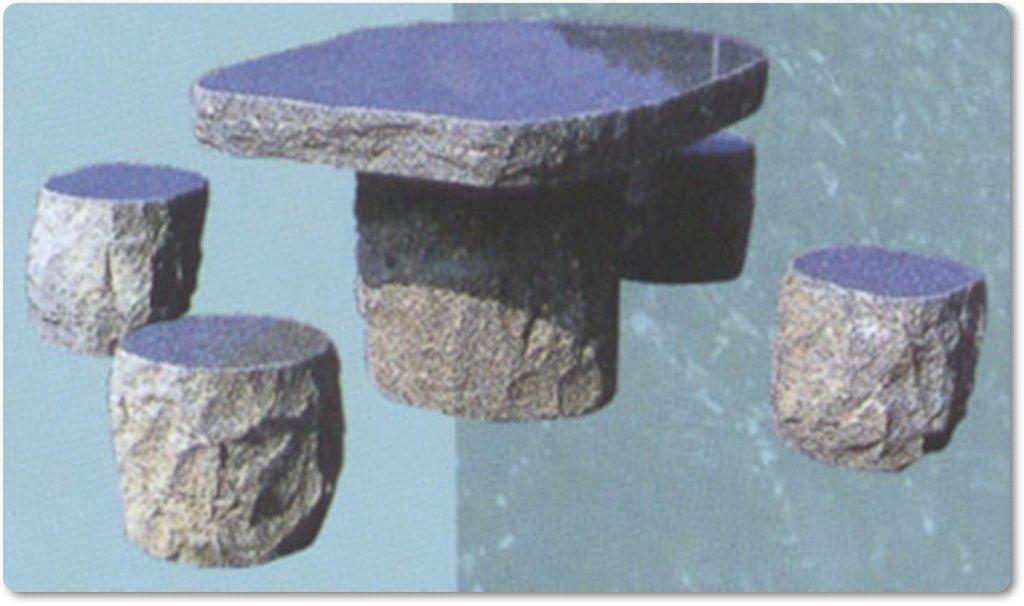 Tischgarnitur aus stein f r den garten for Tisch aus granit