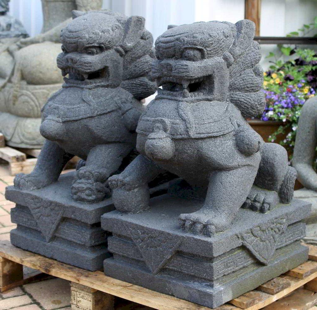 L we w chter fu hunde tierskulptur gartengestaltung for Gartengestaltung chinesisch